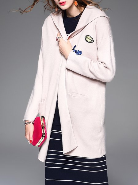 Pink Long Sleeve Embroidered Plain Cashmere Cardigan