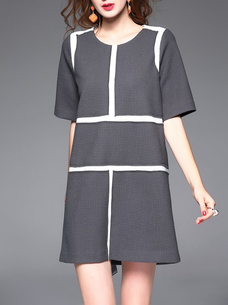A-line Elegant Paneled Half Sleeve Mini Dress