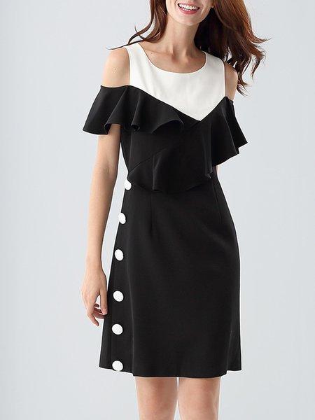 Off Shoulder Frill Sleeve Elegant Mini Dress