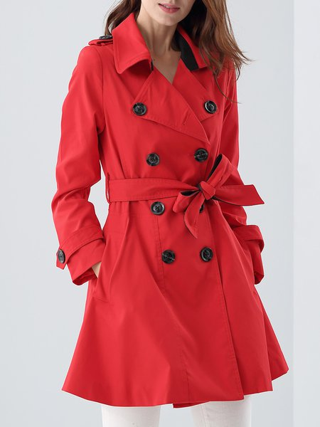 Red Lapel Plain Long Sleeve Trench Coat With Belt