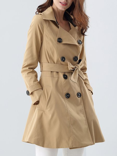 Cotton Street Long Sleeve Trench Coat With Belt