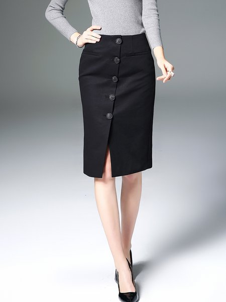 Black Plain Cotton-blend Work Midi Skirt