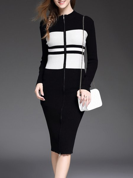 Casual Zipper Cotton-blend Long Sleeve Midi Dress