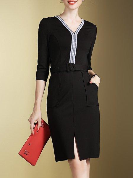 Black Work Slit Plain Beaded Midi Dress With Belt