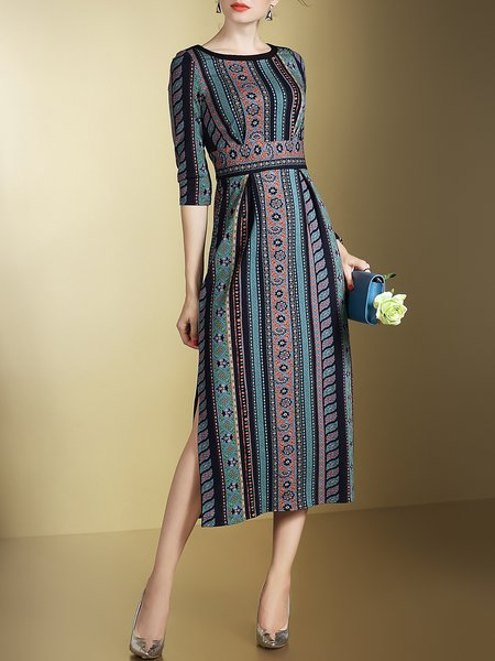 Green Tribal Bateau/boat Neck Elegant Slit Midi Dress
