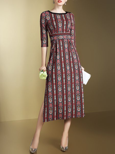 Red Tribal Sheath Elegant Slit Midi Dress