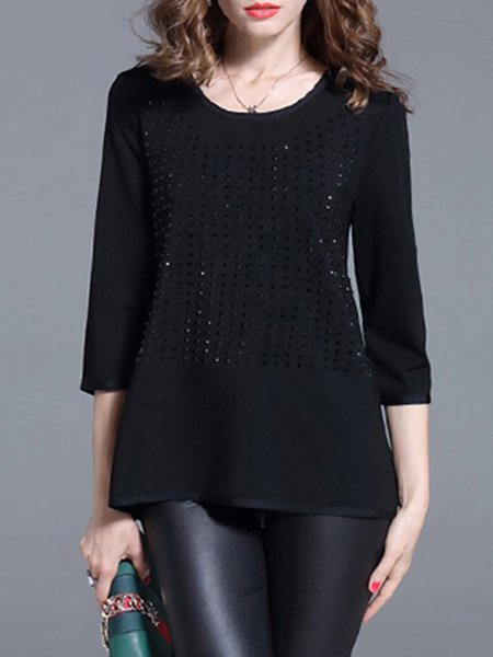 Black Nylon Pierced Casual Long Sleeved Top