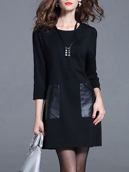 Black 3/4 Sleeve Plain H-line Bateau/boat Neck Mini Dress