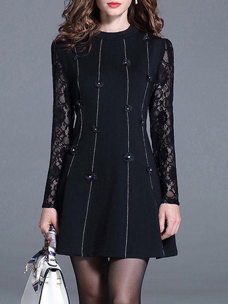 Casual Appliqued Long Sleeve Lace Mini Dress