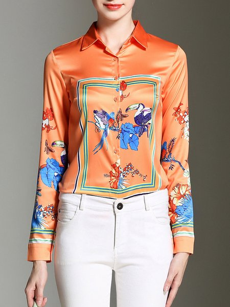 Orange Animal Print Shirt Collar Work Blouse