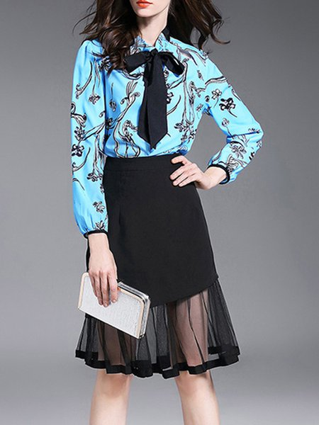Blue Floral Long Sleeve Two Piece Midi Dress