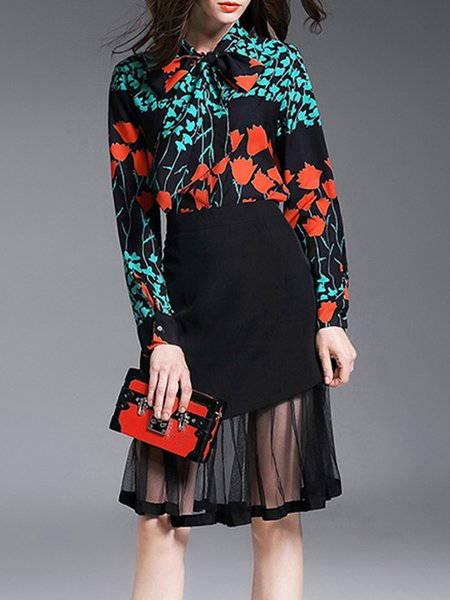 Green Floral Shirt Collar Formal Printed Two Piece Midi Dress