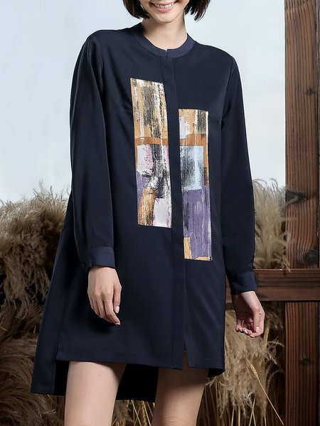 Navy Blue Shift Printed Stand Collar Casual Shirt Dress