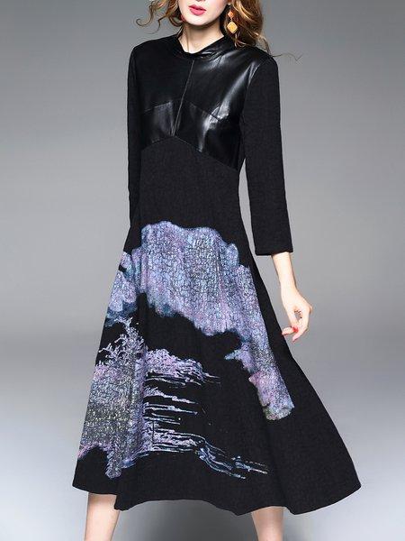 Vintage A-line Painted 3/4 Sleeve Midi Dress
