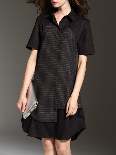 Short Sleeve Casual Stripes Shirt Dress