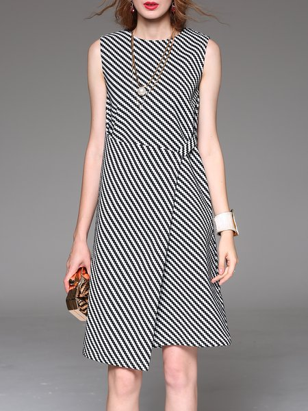 Black Asymmetrical Casual Crew Neck Stripes Printed Midi Dress