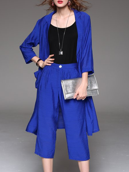 Royal Blue Plain Casual Pockets Three Pieces Separates