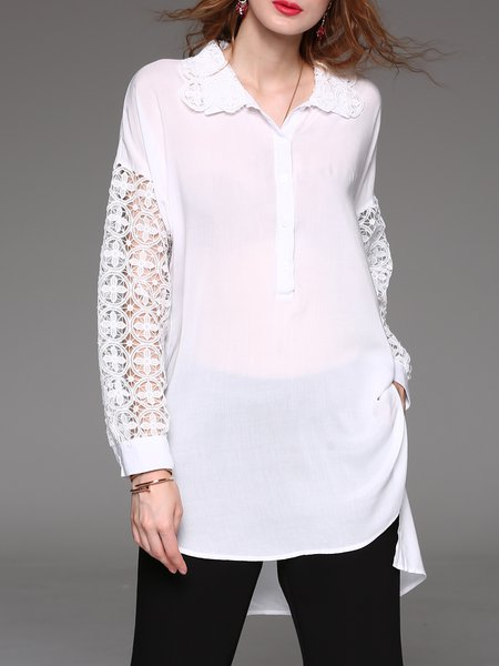 White Shirt Collar Guipure Lace Pierced Tunic