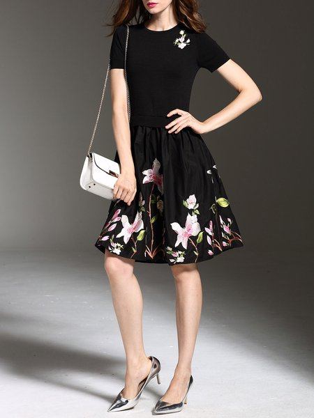 A-line Floral Short Sleeve Casual Embroidered Midi Dress
