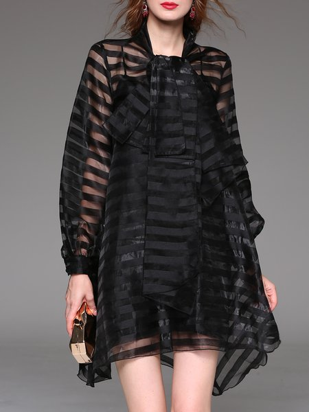 Black See-through Look Long Sleeve Asymmetrical Stripes Mini Dress