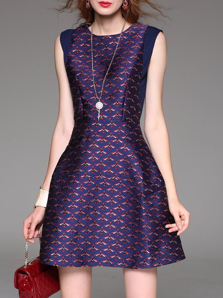 A-line Animal Print Casual Sleeveless Mini Dress