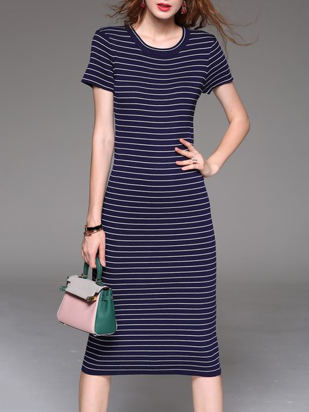 Printed Stripes Short Sleeve Casual Midi Dress