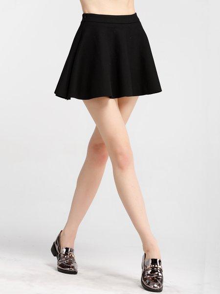 Black Folds Simple Plain Mini Skirt