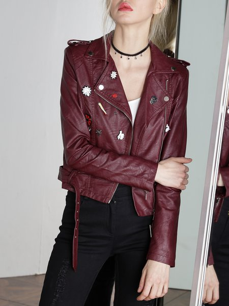 Burgundy H-line Lapel Statement Leather Jacket