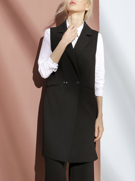 Sleeveless Simple Buttoned Slit Plain Vest