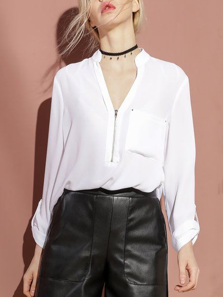Long Sleeve Polyester Zipper Casual Blouse