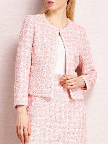 Pink H-line Work Checkered/Plaid Blazer