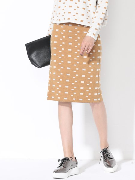White Geometric Polyester Simple Knitted Midi Skirt