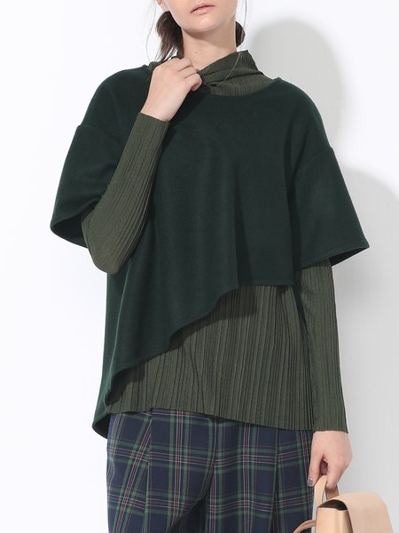 Green Long Sleeve Paneled Crew Neck Asymmetrical Blouse