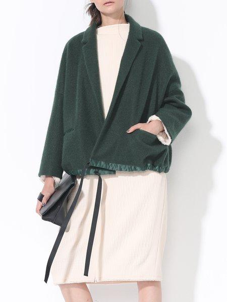Green Lapel Long Sleeve Pockets Plain Cropped Jacket