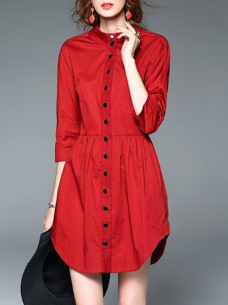 Red Buttoned Cotton 3/4 Sleeve Shirt Dress