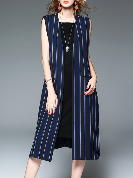 Blue Sleeveless Printed Stripes Vest