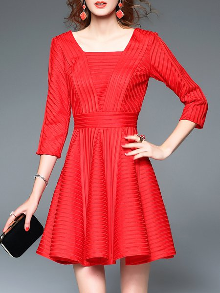 Red Basic Stripes Ribbed Mini Dress