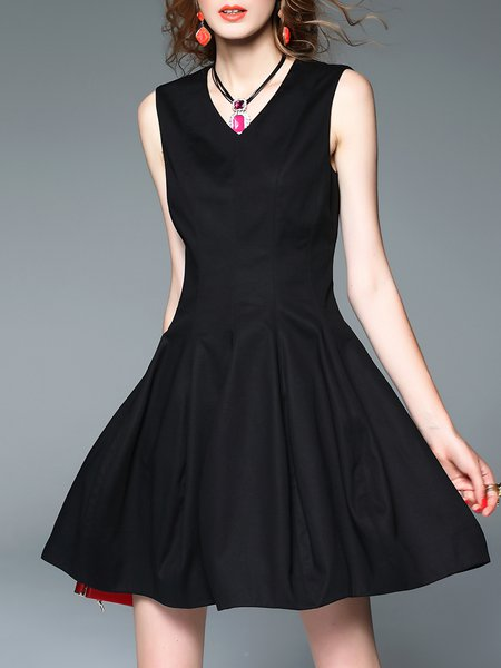 Simple Sleeveless Folds Mini Dress