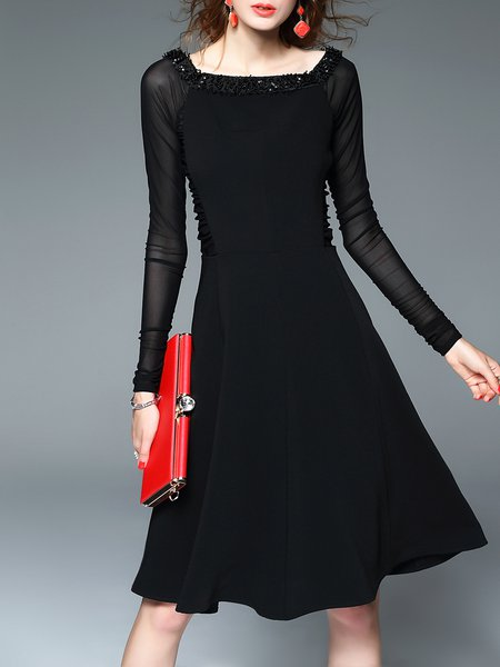 A-line Square Neck Long Sleeve Cocktail Polyester Mesh Paneled Midi Dress