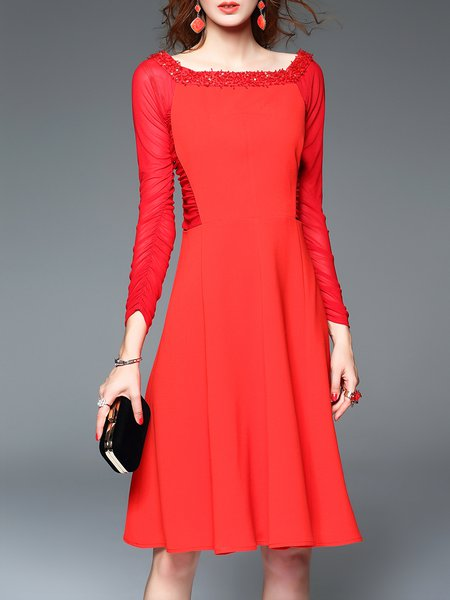 Red Square Neck Cocktail Mesh Paneled Beaded Midi Dress