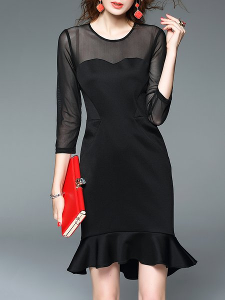 Black Plain 3/4 Sleeve Paneled Crew Neck Midi Dress