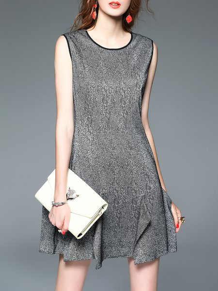 Black Sleeveless A-line Crew Neck Mini Dress