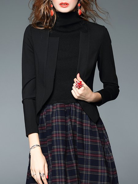 Black Cotton-blend H-line Simple Long Sleeve Plain Blazer