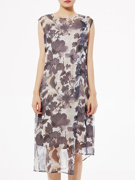 Short Sleeve Crew Neck Two Piece Floral Print Vintage Midi Dress