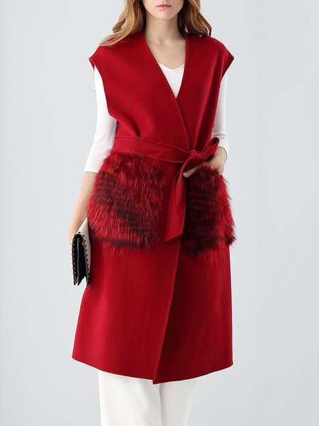 Wine Red Plain Sleeveless Coat with Belt