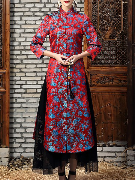 Floral Embroidered 3/4 Sleeve Stand Collar A-line Coat