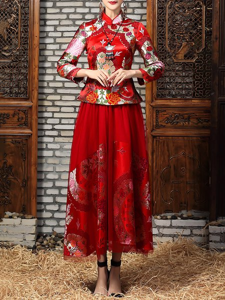 Red Elegant Floral Embroidered Two Piece Maxi Dress