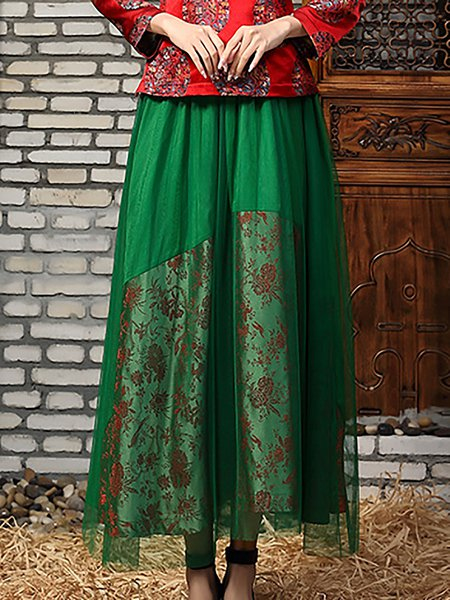 Coffee Vintage Embroidered Swing Maxi Skirt