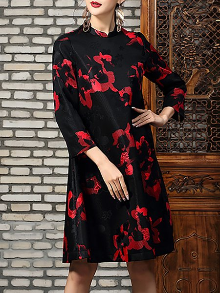 Black Polyester Printed 3/4 Sleeve Midi Dress