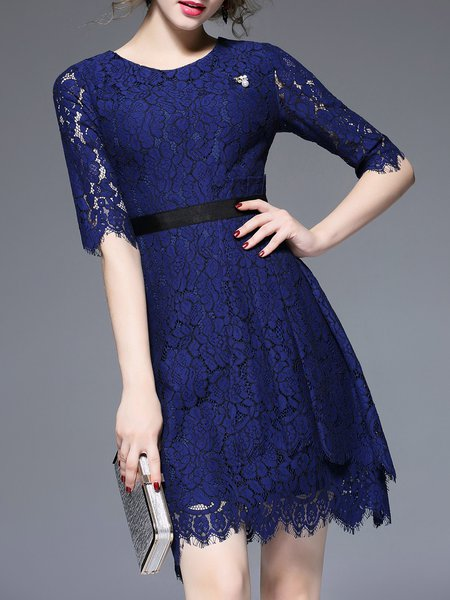 Half Sleeve Casual Lace Crew Neck Floral Mini Dress